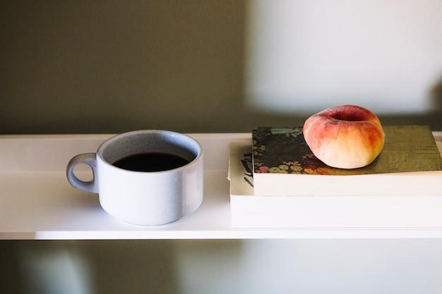 Coffee and peach Free Photo