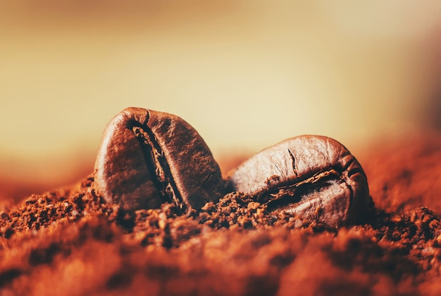 Coffee bean. a cup of coffee. selective focus. Premium Photo