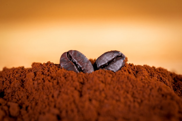 Coffee beans are placed on a coffee powder. filter photos in vintage style. Premium Photo