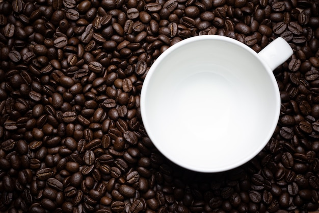 Coffee beans and coffee cup. Free Photo
