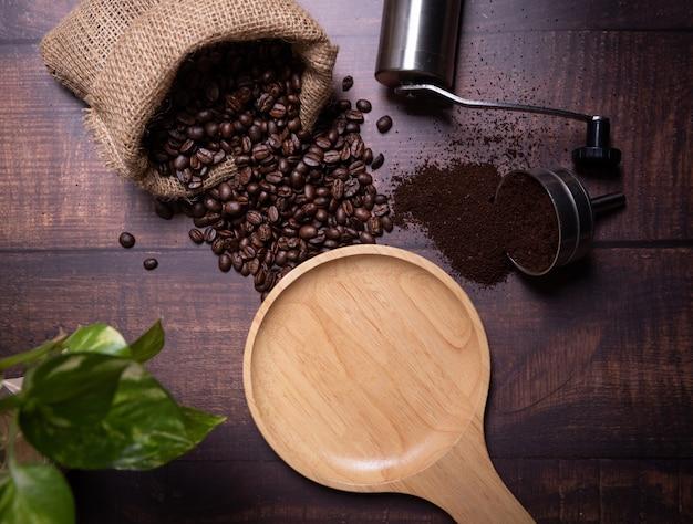 Coffee beans and ground powder Free Photo