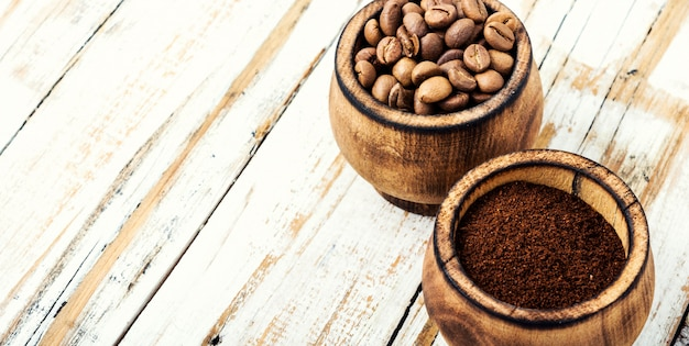 Coffee beans and grounds Premium Photo
