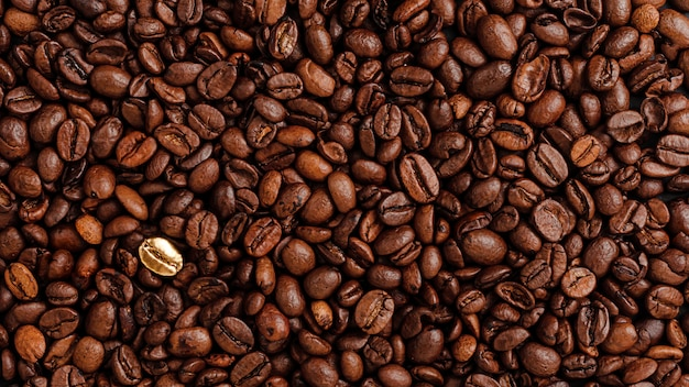 Coffee beans texure. standing out from the crowd concept. Premium Photo
