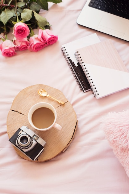 Coffee in the bed. blogger lifestyle Premium Photo