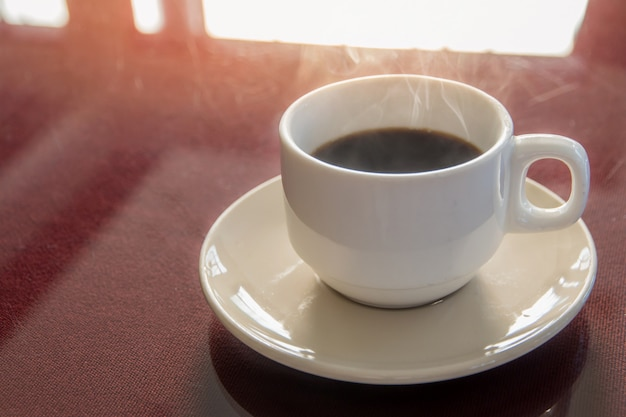 Coffee brake set, cups of hot coffee espresso on the table and light background Premium Photo