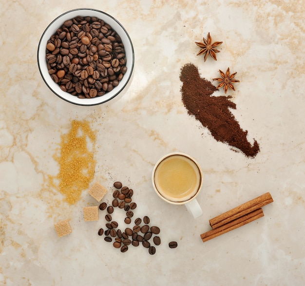 Coffee, cane sugar, spice anise and cinnamon Premium Photo