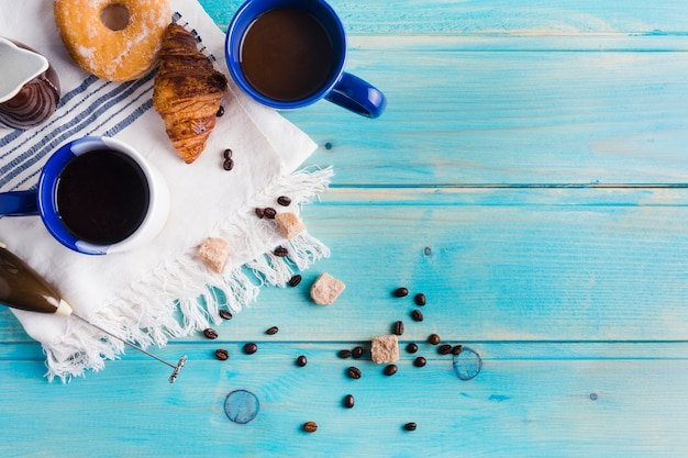 Coffee composition with breakfast Free Photo