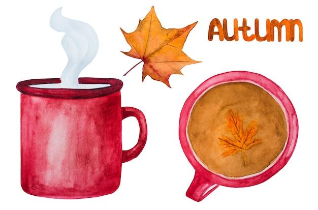 コーヒーカップと紅葉 Premium写真
