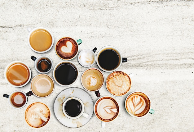 Coffee cup collection Free Photo