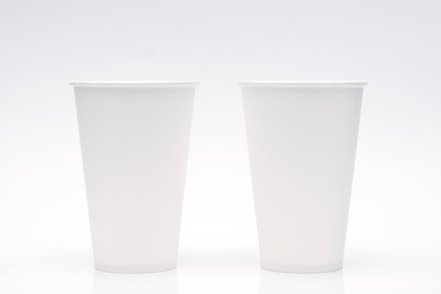Coffee cup mockup on white background. copy space for text and logo. Premium Photo