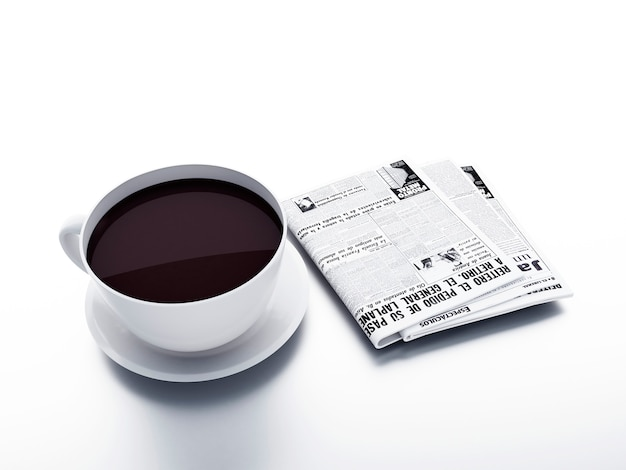 Coffee cup with newspaper on white isolated background. morning news concept Premium Photo