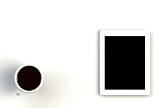 Coffee cup with tablet on white background Premium Photo
