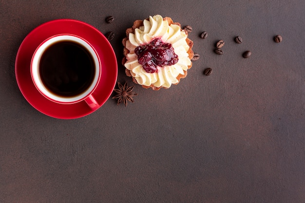 Coffee and delicious cake copy space Free Photo