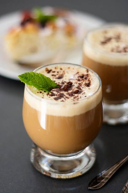Coffee drink with ice cream, espresso. affogato, summer refreshing drink in glass. Premium Photo