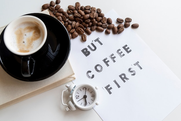 But coffee first quote with clock Free Photo
