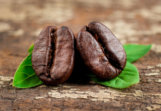 Coffee grains and green leaf on grunge wooden background Premium Photo