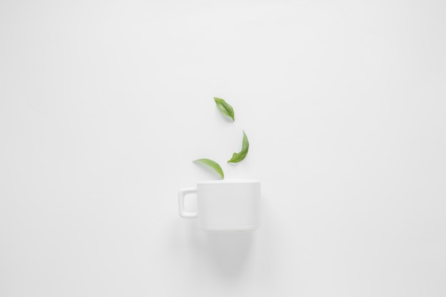 Coffee leaves and white cup over white background Free Photo