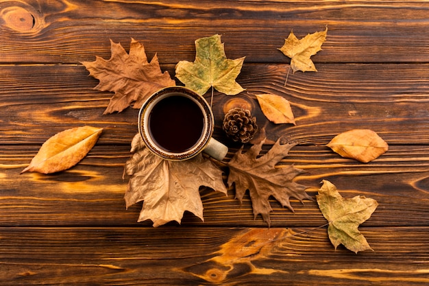 Coffee and leaves on wooden background Free Photo