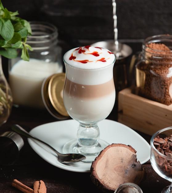 Coffee Milk Latte With Strawberry Slices Photo