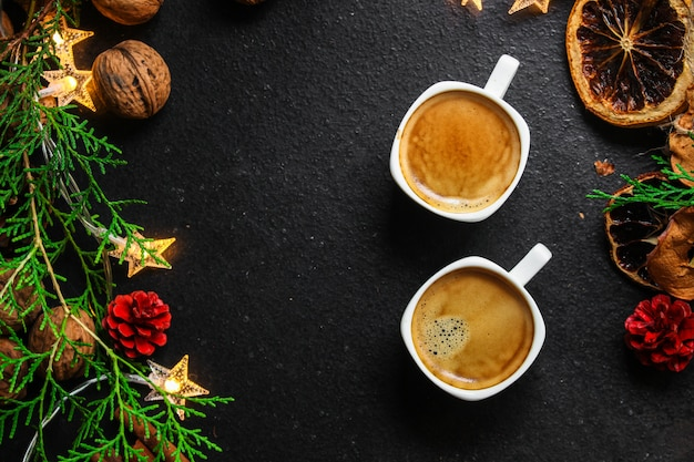Coffee, new year, christmas background or noel holiday festive Premium Photo