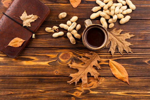 Coffee and nuts autumn background Free Photo