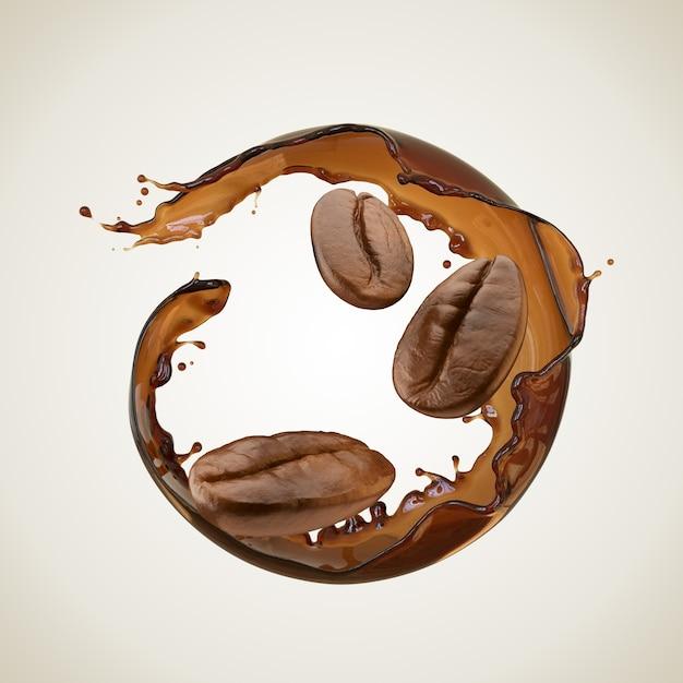 Coffee splash in round shape Premium Photo