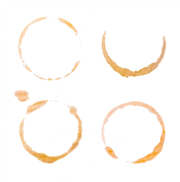 Coffee stains or bottom cup print collection. Premium Photo