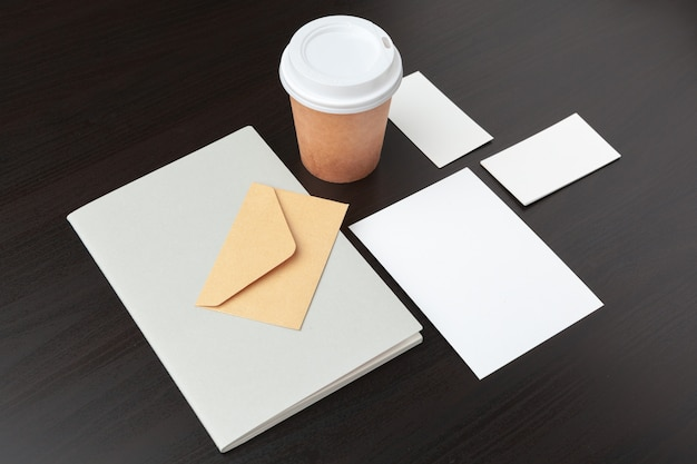 Coffee stationery, branding , with clipping path Premium Photo