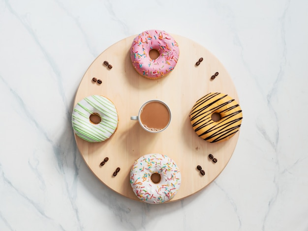 Coffee time and donuts time concept Premium Photo