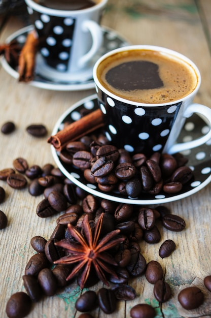 Coffee time with roast beans Premium Photo