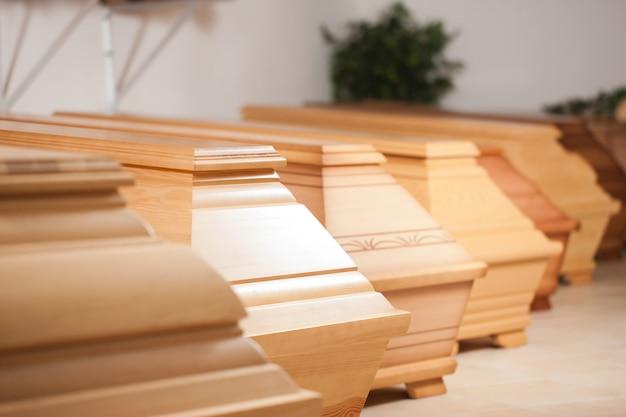 Coffins in mortician shop Premium Photo