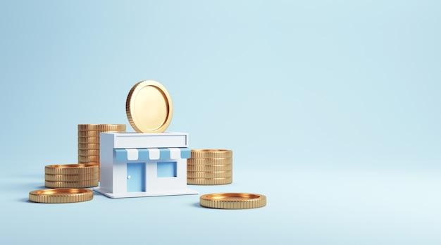 Монеты в магазинах, заработок на франчайзинговом бизнесе. Premium Фотографии