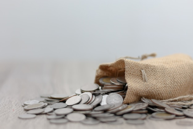 Coins in sack on the wooden table Premium Photo