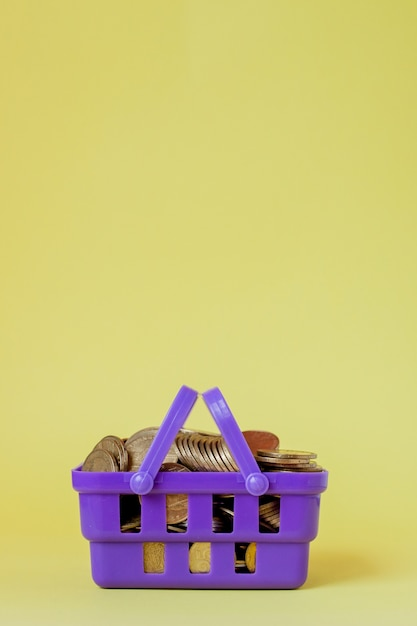 Coins in a shopping basket.  of finance and money. an investment in a new project. wealth and poverty. shopping in the shop. yellow .  copyspace. Premium Photo