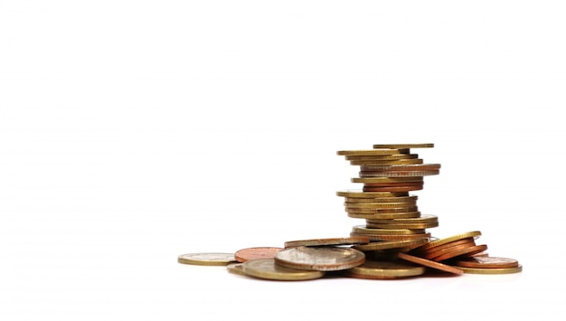 Coins stacked on each other in different positions Premium Photo