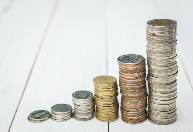 Coins stacking Premium Photo
