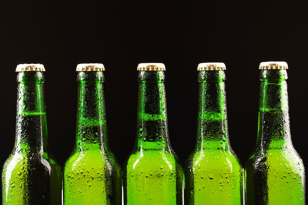 Cold beer bottles standing on a row Free Photo