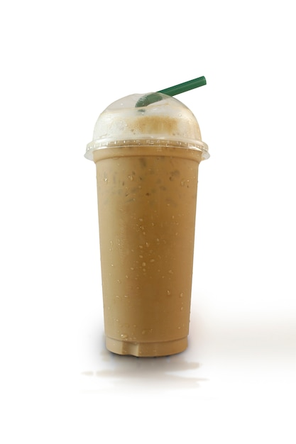 Cold coffee on a white background with clipping path. Premium Photo