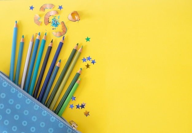 Cold colors pencils Premium Photo