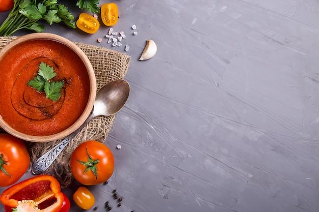 Cold summer dish of tomatoes gazpacho soup Premium Photo