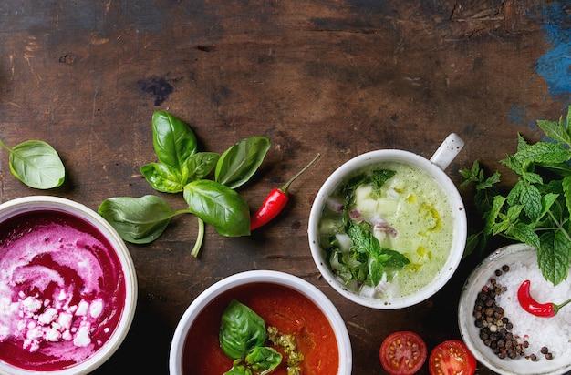 Cold vegetarian soups Premium Photo