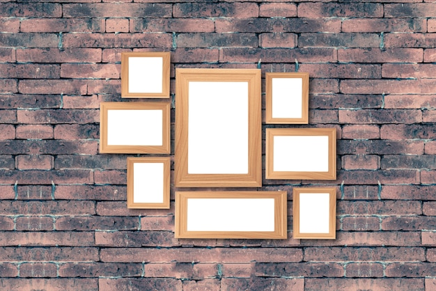 Collage of blank brown wooden frames Premium Photo