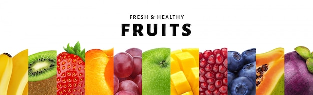 Collage of fruits isolated on white background with copy space, fresh and healthy fruits and berries close-up Premium Photo
