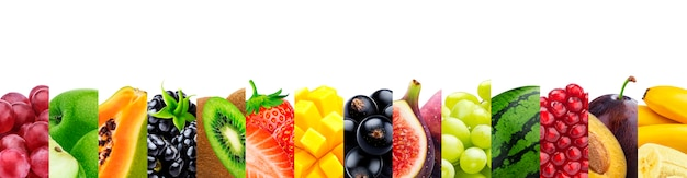 Collage of fruits isolated on white with copy space Premium Photo