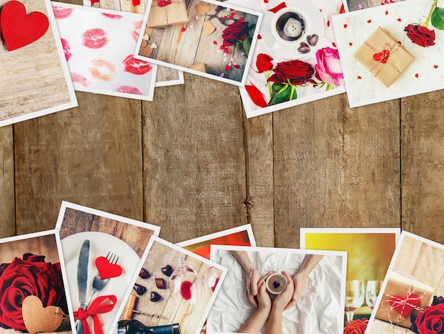 Collage of love and romance. selective focus. Premium Photo