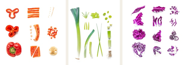 Коллаж из разных овощей на белом фоне Бесплатные Фотографии