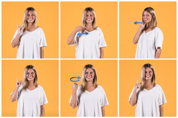 Collage of smiling young woman showing different deaf sign alphabets Premium Photo