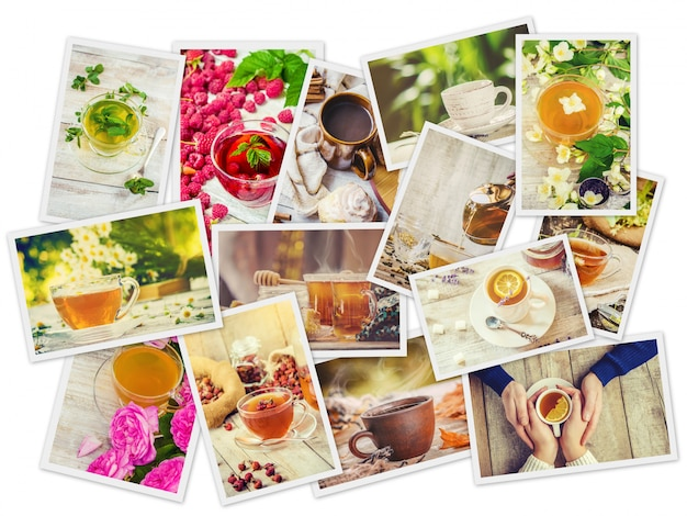 Collage of tea. selective focus. food and drink. Premium Photo