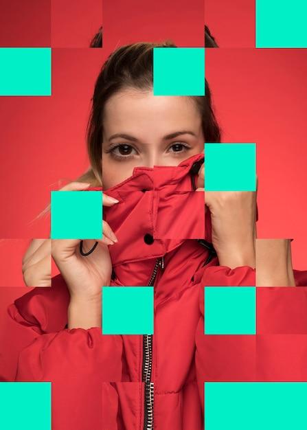 赤を着ている女性とコラージュします。 無料写真