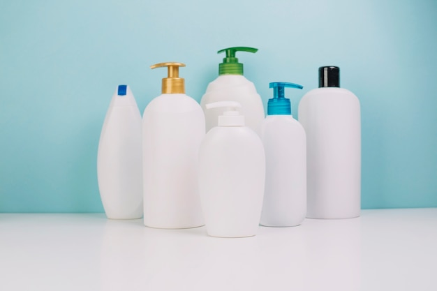 Collection of blank cosmetics bottles Free Photo